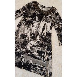 Calesas 60's Mod Style Retro Print Dress